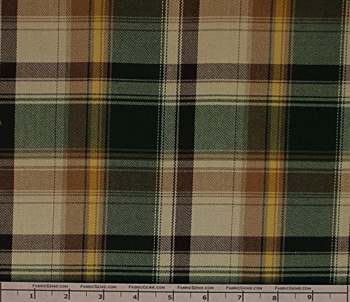 Taylor Poly Rayon Plaid Stretch Suiting Fabric, Stretch Suiting Fabric, Suiting Fabric-GREEN/CAMEL