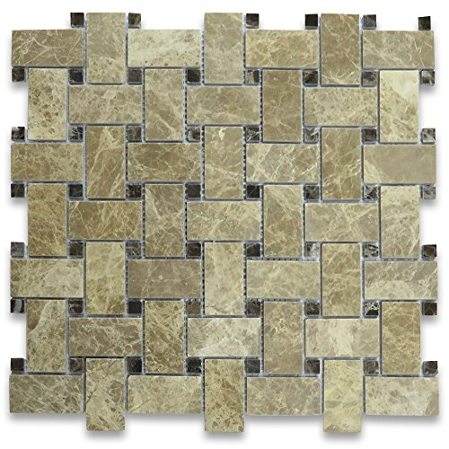 Emperador Light Marble Basketweave Mosaic Tile Emperador Dark Dots 1 x 2 Polished