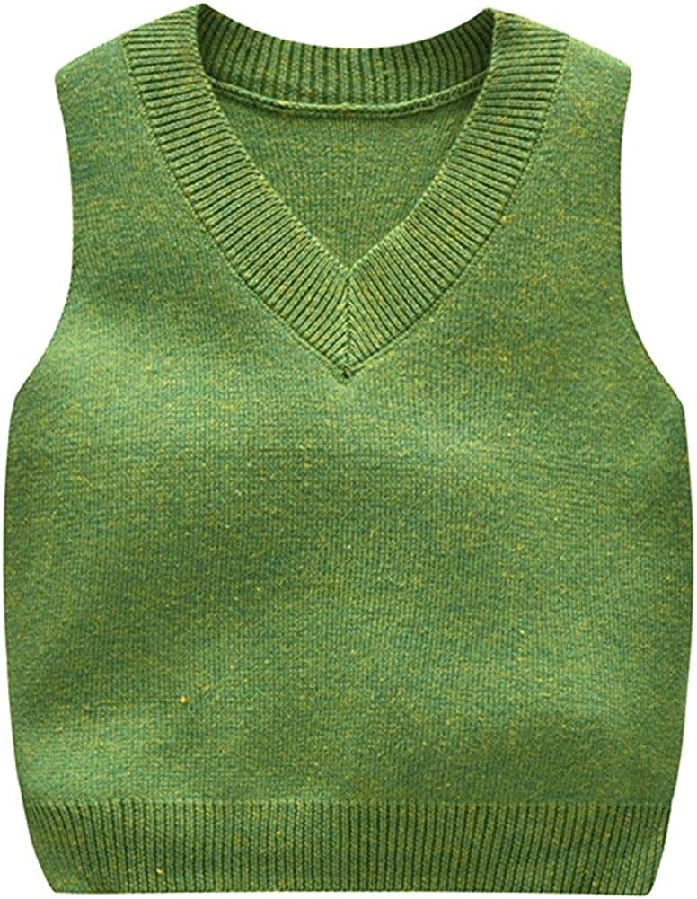 Baby Toddler Boys Solid Color V Neck Sweater Vest Sleeveless Pullover Knitted Waistcoat School Uniform Outfit