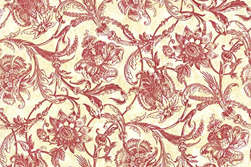 Wallpaper Designer Van Luit Red Toile Jacobean Floral Vine on Cream Yellow Faux / Large 91.12 Square Foot Triple Roll Bolts ()
