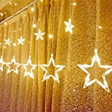 Kable Leader Star Curtain Lights, With 12 Stars 6FT Waterproof Linkable Curtain Lights, Great Decoration for Wedding, Christmas, Holiday, Party and Home - Warm White Star Curtain