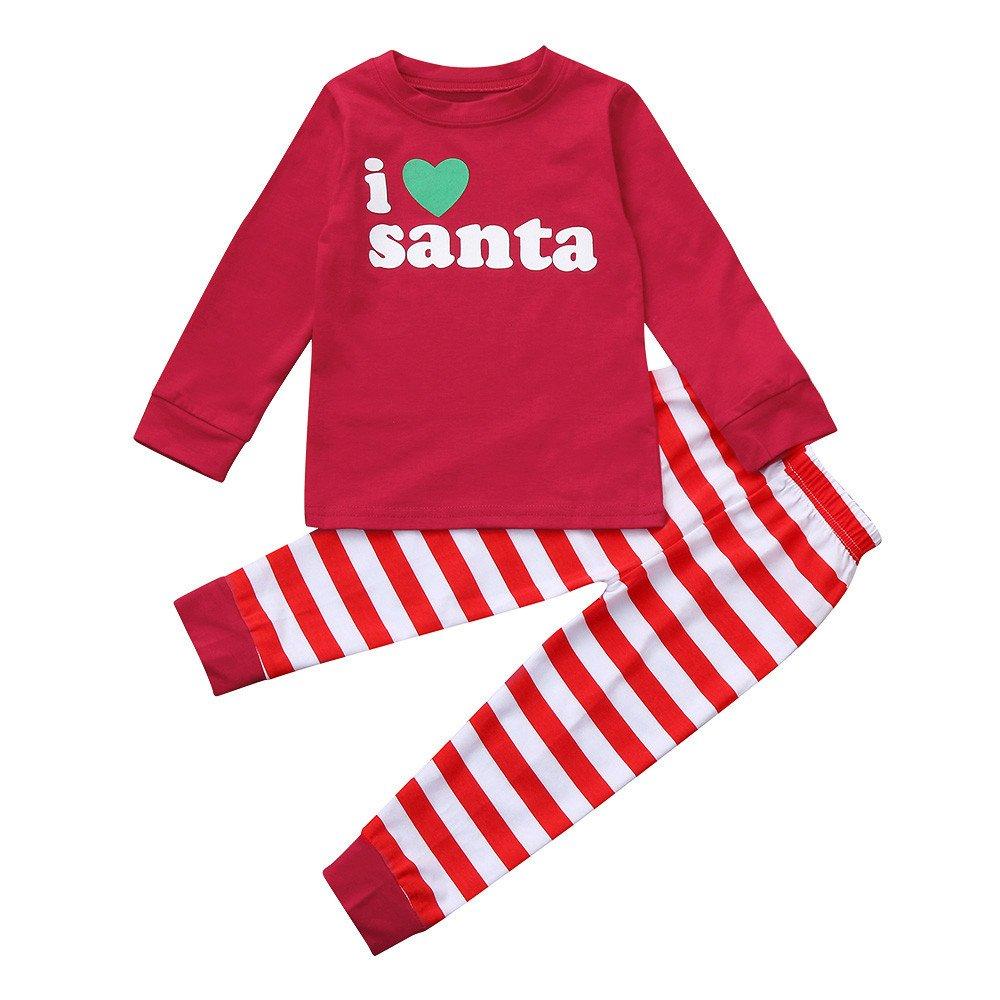 CieKen Kids Xmas Pajamas, Toddler Baby Boy Girl Deer Print Long Sleeve Shirt + Pants Christmas Outfit Clothes Set