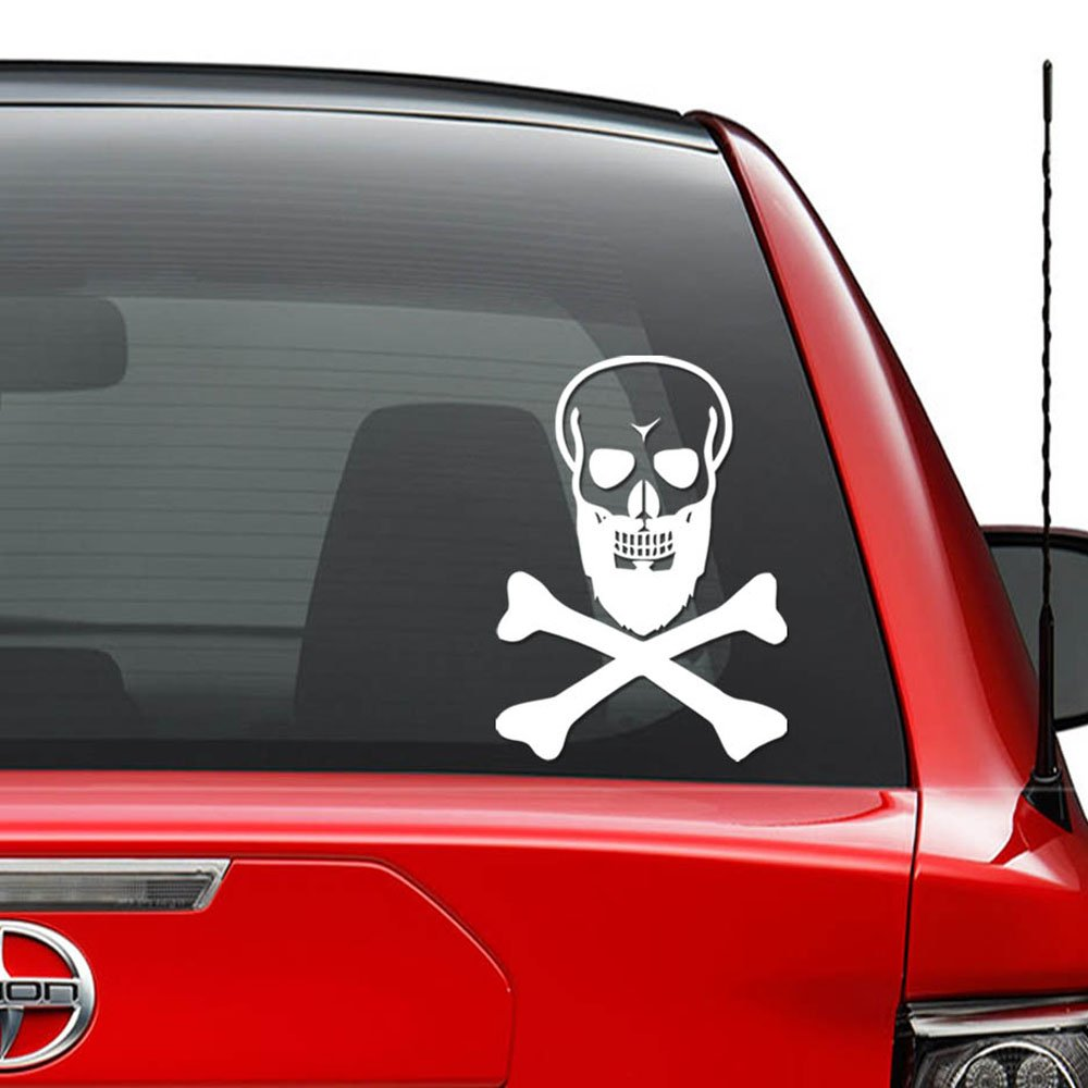 Death skull black beard vinyl decal sticker car truck vehicle bumper window wall decor helmet motorcycle and more size 5 inch 13 cm tall color