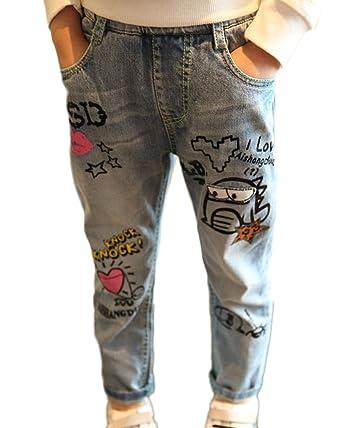607f5625f18a49 LaoZanA Mädchen Jeans Hose Graffiti-Muster Prinzessin Kleidung Stretch  Freizeithose Denim Hose 2 160