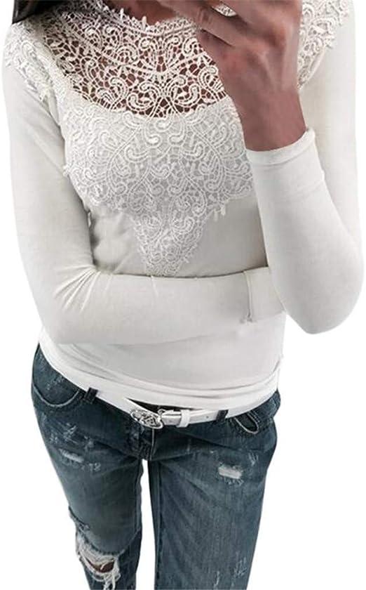 RBDSE Camisa Blusa de Crochet de Encaje de Moda Las Mujeres Primavera Delgada Sexy Camisas de Manga Larga para Mujer Elegante O-Cuello Tops Casuales Recortadas: Amazon.es: Deportes y aire libre