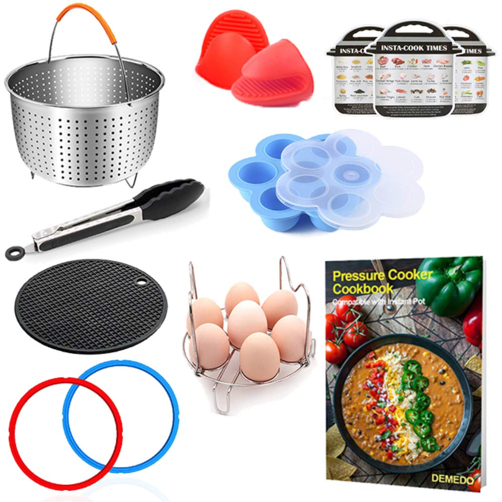 3 Quart Instant Pot Accessories with Electric Pressure Cooker Recipe Cookbook - Steamer Basket, Sealing Ring, Magnetic Cheat Sheet, Egg Bites Mold, Steam Rack, Food Tongs, Silicone Mat, Mitts