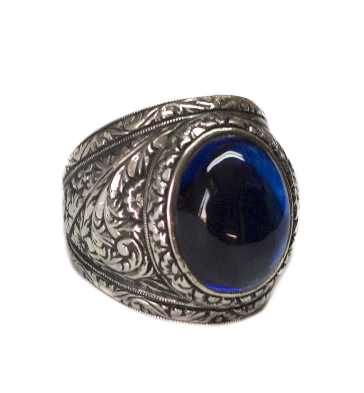 Steel Pen Craft Handmade cz Blue-Agate Stone Personalized Ring Falcon Jewelry Sterling Silver Men Ring
