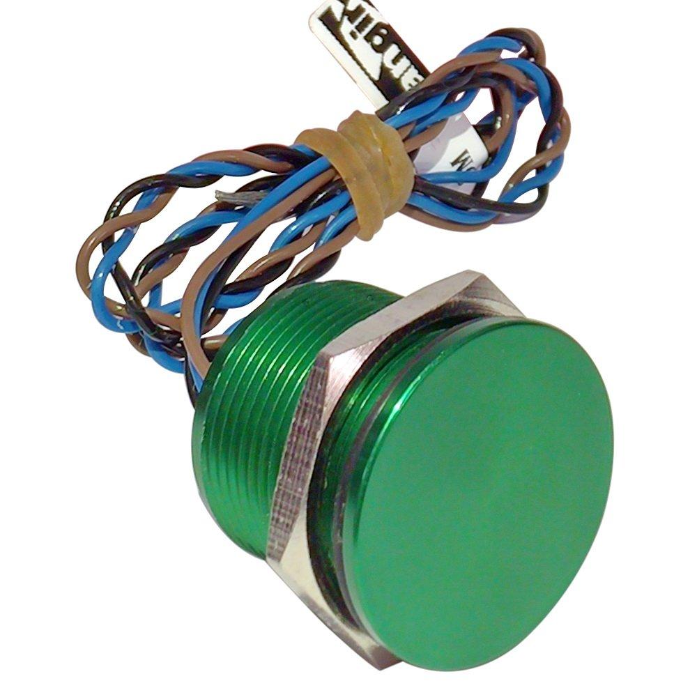 Generic 19mm Aluminum Green Latching Piezo Switch