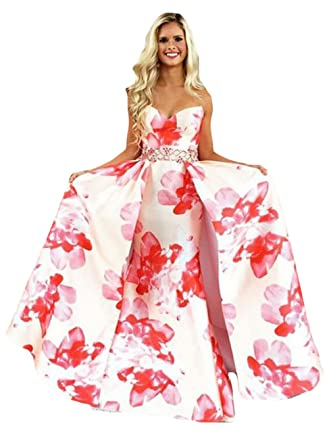 Ri Yun Sexy Sweetheart Princess Floral Print Prom Dresses Long 2018 Strapless Evening Gowns for Women