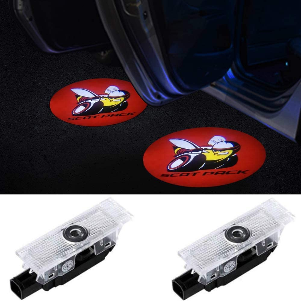 CHANONE LED Car Door Logo Dodge Challenger Projector Ghost Shadow Courtesy Light Welcome Light for Dodge Challenger Scat Pack RT SRT SXT GT SE 2 Pack