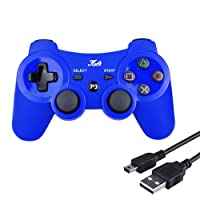 Kabi Bluetooth Wireless Controller for PS3 Controller Double Shock Gamepad 6-Axis Game Controller for Playstation 3 Bonus Free Charging Cable (Blue)