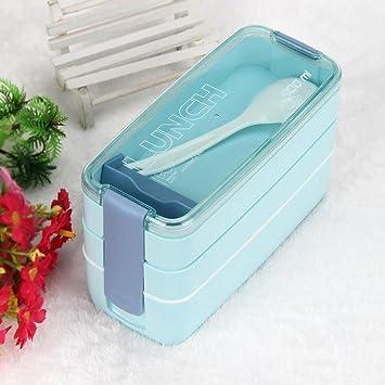 hunpta 900 ml portátil 3 capa Bento caja de almuerzo de horno microondas alimentos almacenamiento azul