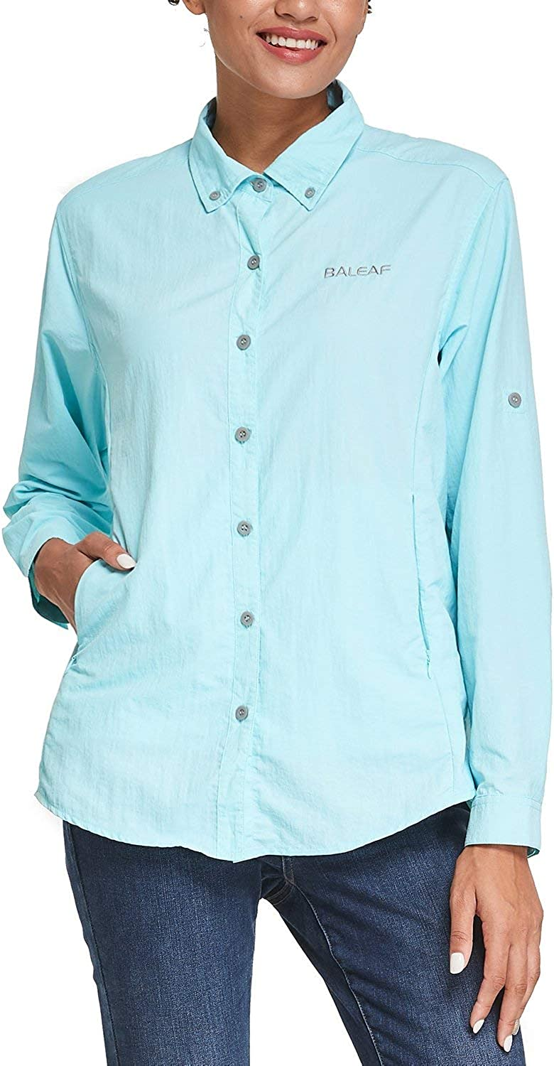 BALEAF Women's Lightweight Shirts UPF 50 Breathable Quick Dry Zip Pockets Long Sleeve for Camping Hiking Fishing Travelling