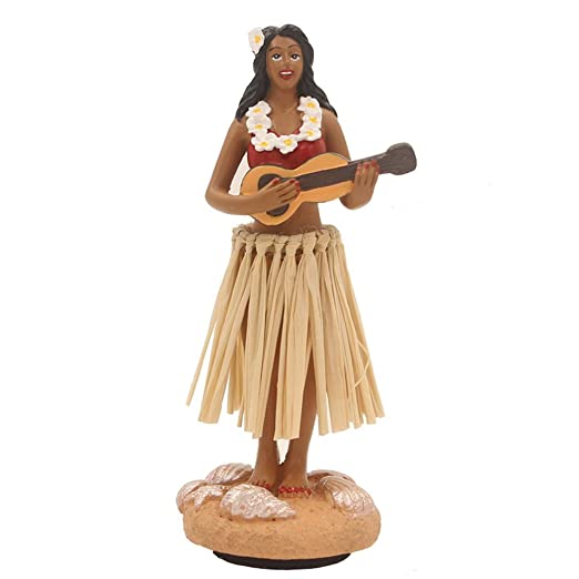 "Hula Girl Mini Size Dashboard Doll 4.5""High with Raffia Skirt"