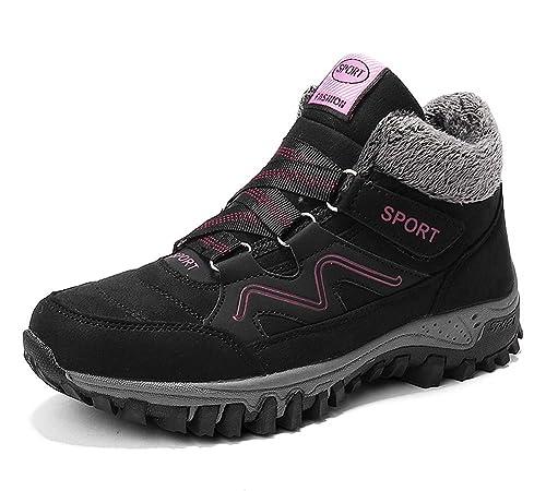 lovejin Zapatillas Senderismo Mujer Invierno Zapatillas Deportivas Impermeable Zapatos de Trekking Caliente Botas de Nieve de Felpa Antideslizante Outdoor ...