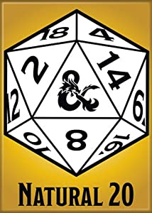 "Ata-Boy Dungeons and Dragons Natural 20 2.5"" x 3.5"" Magnet for Refrigerators and Lockers"
