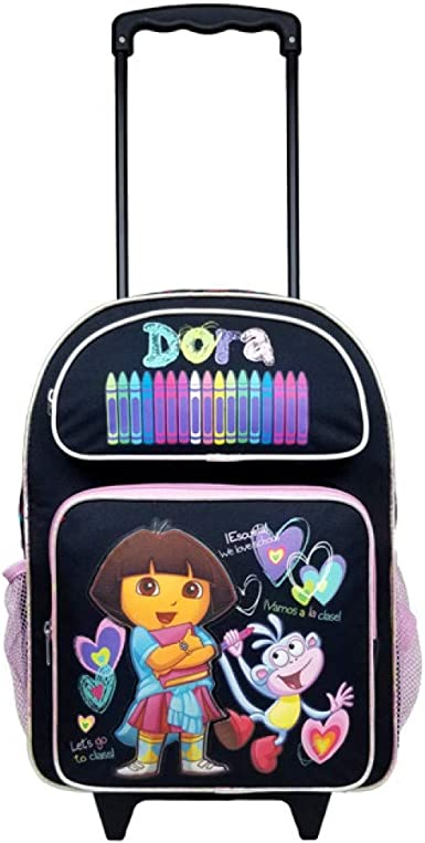 "Dora the Explorer Toddler Rolling Backpack 12/"" /> Kids wheel Schoolbag /> bookbags"
