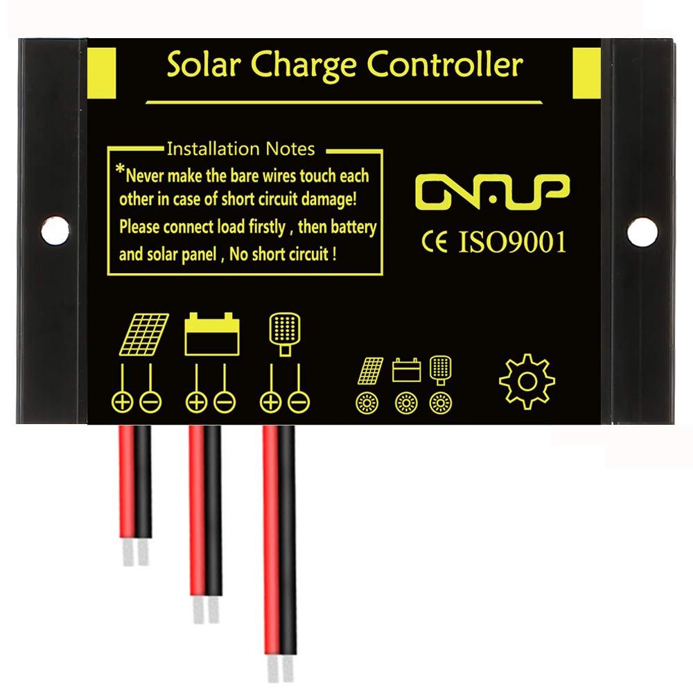 SUNER POWER Solar Charge Controller - IP68 Waterproof Solar Panel Regulator Dust to Dawn Light Control - Perfect 12V 24V SLA, Gel, Flood, Deep Cycle, Marine Battery, etc.