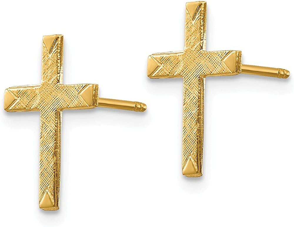 Mens Ladies 14k Yellow Gold Brushed Finish Solid Cross Post Earrings 13mm x 10mm