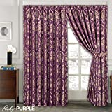 LUXURY JACQUARD Curtains Fully Lined Ready Made Tape Top Pencil Pleat Curtains Fusion (TM) (Ruby Purple, 66X72) by Fusion