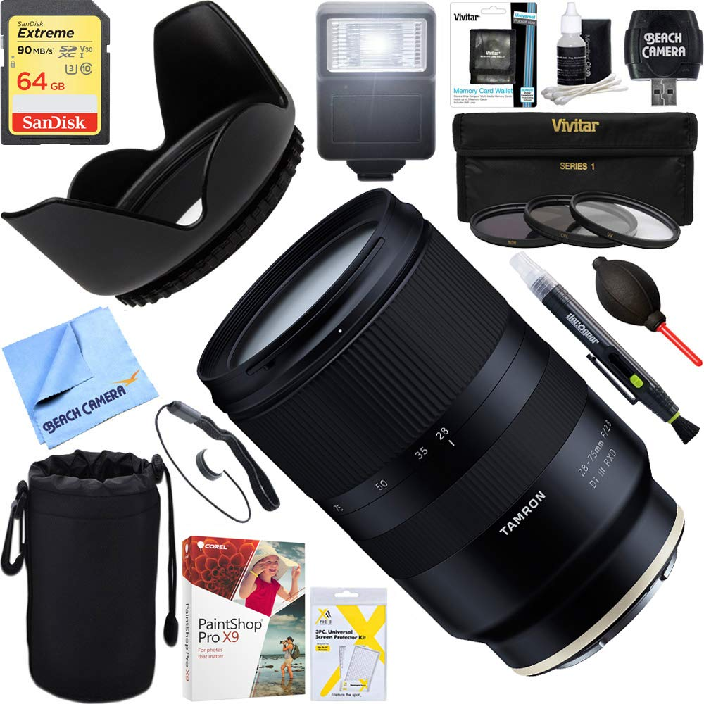 Tamron 28-75mm F/2.8 Di III RXD Full Frame E-Mount Lens + 64GB Ultimate Filter & Flash Photography Bundle (AFA036S-700) by Tamron