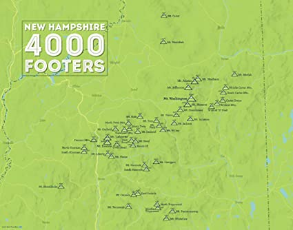 Map Of New England 4000 Footers.Amazon Com Best Maps Ever New Hampshire 4000 Footers Map Framed