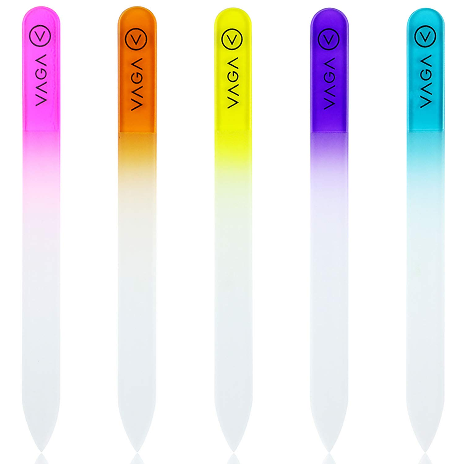 Amazon.com: VAGA Crystal Glass Nail File set of 5 Premium Rainbow ...