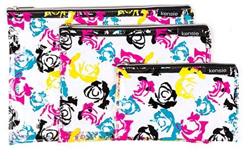 kensie-3-piece-clear-travel-bag-set-with-zipper-closure-black