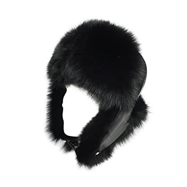 0ffcb2d0636 lethmik Mens Trapper Hat Fox Fur Russian Ushanka Hat Trooper Winter Hats  Black