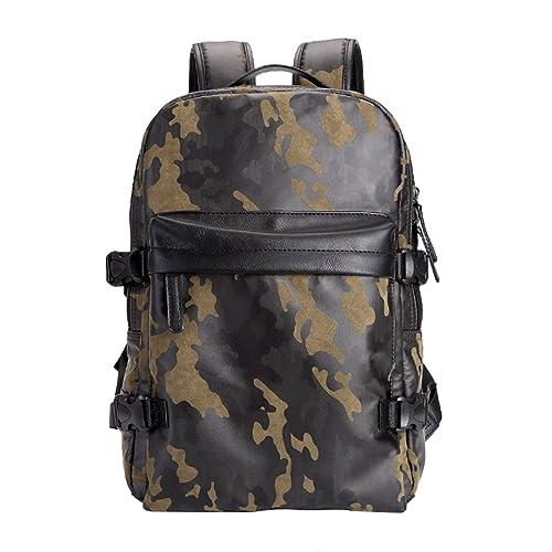 Jitong Hombres Vintage Mochilas Escolares Ligera Camuflaje Bolsas Mochila Bolsa para Portátil Backpack (Ejercito Verde