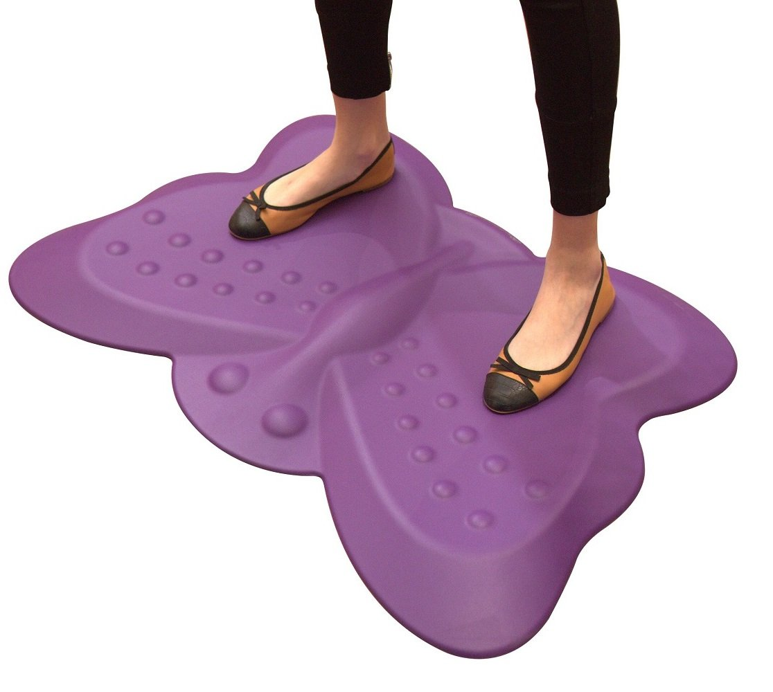 Butterfly Ergonomic Non-Flat Anti Fatigue Standing Desk Mat, Purple (1st Generation)