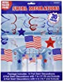 """Red White and Blue Fourth of July Party American Flag Swirl Ceiling Accessory, foil, 24"""", Pack of 30"""