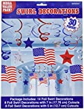 fourth of july party supplies - Red White and Blue Fourth of July Party American Flag Swirl Ceiling Accessory, foil, 24