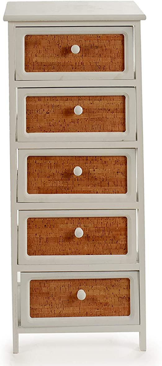 TU TENDENCIA /ÚNICA Mueble Auxiliar de Madera con Cinco cajones Madera de Paulownia Medidas: 26 x 32 x 98cm Modelo Home