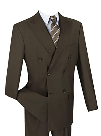 8b942fe3c054 VINCI Men's Premium Solid Double Breasted 6 Button Classic-Fit Suit New at  Amazon Men's Clothing store: