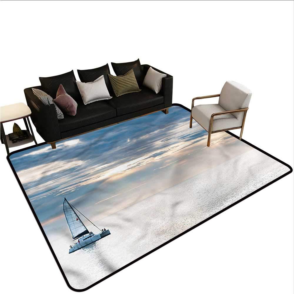 "B07SKGLG19 Nautical,Front Mat Home Decorative Carpet 64""x 96"" Sailing Yacht Sunset Bath Rugs for Bathroom Non Slip 61PtyUn9VRL._SL1000_"