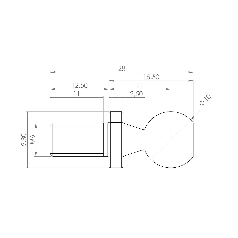 1 Stück Kugelzapfen 10mm DIN 71803 Form C mit Gewindezapfen und Schlüsselfläche