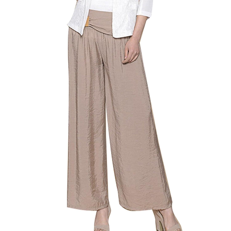 AUBIG Fashion Casual Women Loose Wide Leg Pants Light Soft Culottes Culottes - Khaki