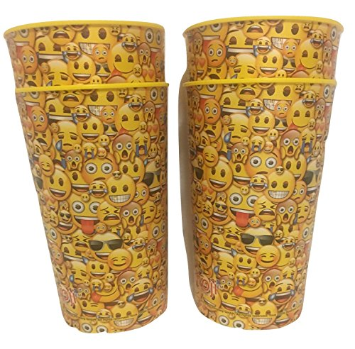Emoji Smile Cup 4-pack 22 oz Reusable Plastic Drinking Cups