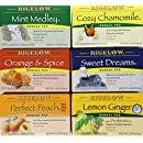 Bigelow Herbal Tea Variety Pack, 118 Bags, Mint Medley, Cozy Chamomile, Orange & Spice, Sweet Dreams, Perfect Peach, and Lemon Ginger