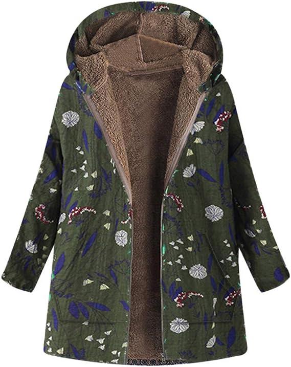 Manteau Femme Hiver Long Grande Taille à Capuche Manche Longue Hiver Chaud Blouson Vintage Chic Bohème Ethnique Imprimée Veste Casual Confortable