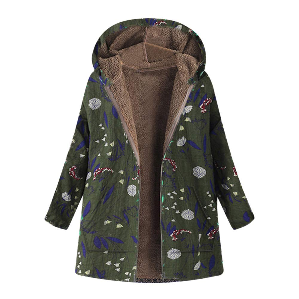 Opinionated Women Coat, Womens Vintage Winter Warm Outwear Coat Floral Thicken Hooded Pockets Coats Overcoat Army Green by Opinionated