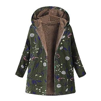 TianWlio Damen Herbst Winter Jacken Parka Mäntel Winter Warm Outwear Blumendruck Mit Kapuze Taschen Vintage Übergröße Mäntel
