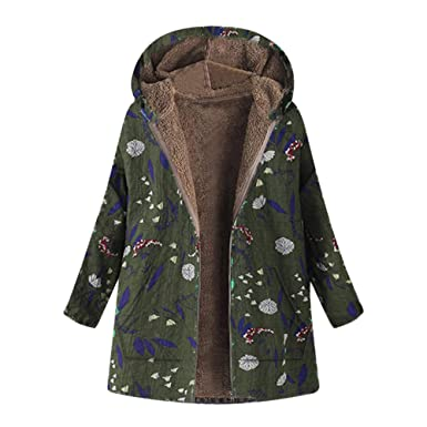 b6d70103bc NREALY Jacket Women s Winter Warm Outwear Floral Print Hooded Pockets  Vintage Oversize Coats(Army Green