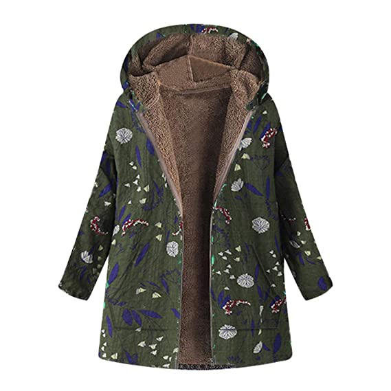 e4663707159 Womens Coats Clearance Toamen Vintage Winter Warm Faux Wool Fleece Lined  Thickened Hooded Parka Outwear Jacket Overcoat Outercoat Tops  Amazon.co.uk   ...