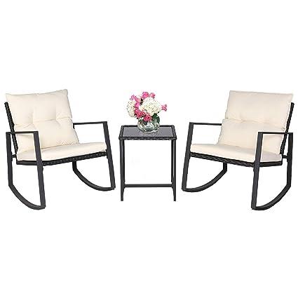 Amazon.com: SUNCROWN - Juego de muebles de jardín de 3 ...