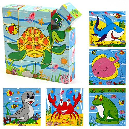 VolksRose 16 Pcs Wooden Cube Block Jigsaw Puzzles - Ocean World Pattern Blocks Puzzle for Child 1 Year and Up -- Perfect Christmas Gift for Your Kids