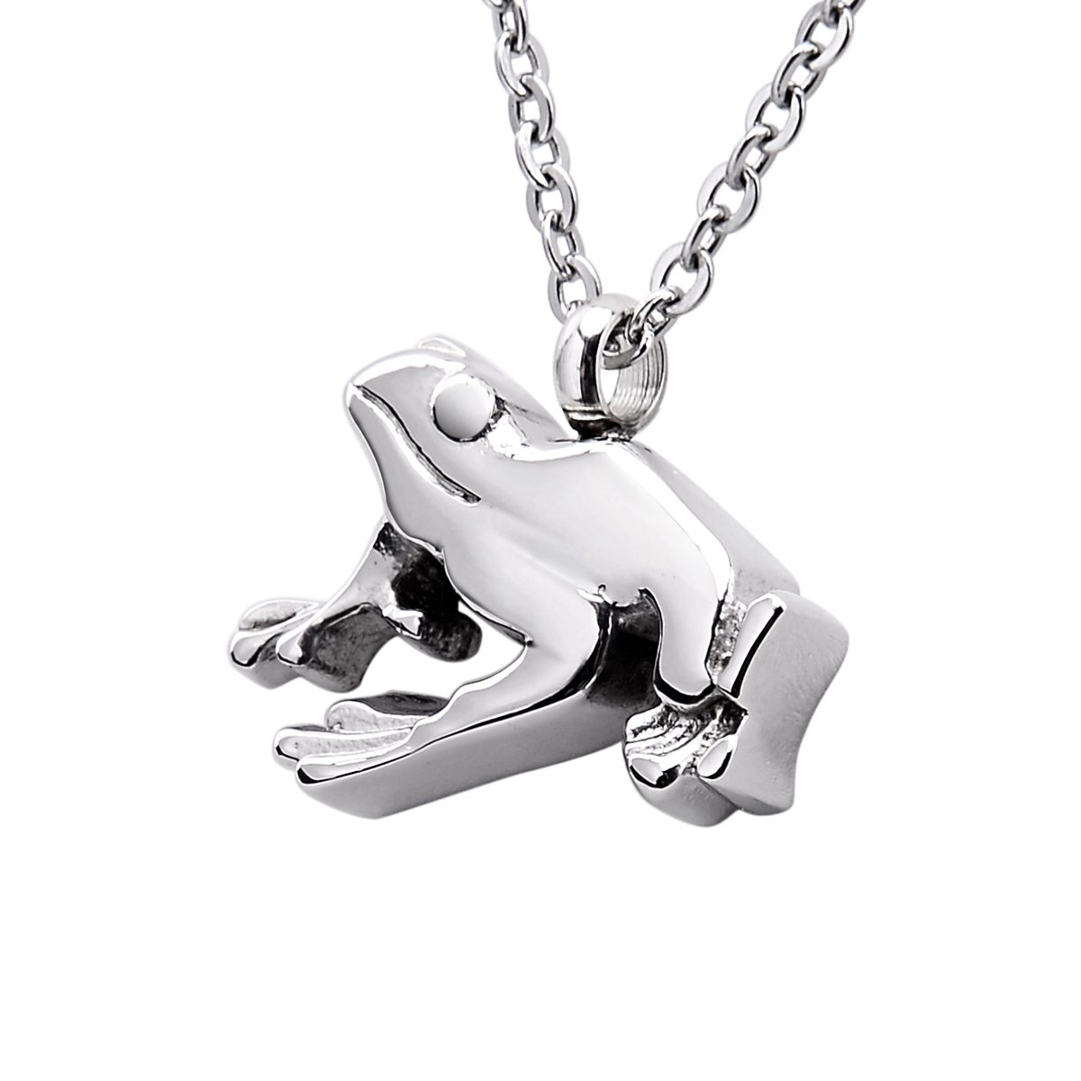 B&Y Frog Cremation Ashes Urn Necklace Memorial Pendant Stainless Steel Waterproof Jewelry (Frog)