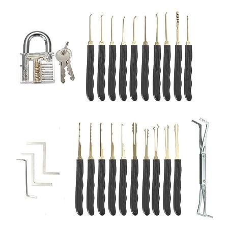 25 PCS Set de Entrenamiento con Candado Transparente AxeBon Lock Picking Set Clave Extractor Cerrajer/ía Herramientas de Pr/áctica para Principiantes