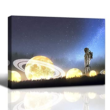 Gardenia Art Astronaut Looking At Fallen Stars On The Grass Anime Painting Bathroom Accessories Wall Art Home Decor For Bedroom Living Room Framed 12x16 In 1 Pcs Amazon In Home Kitchen